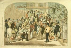 Engraving of 'A Slave Sale in Charleston, South Carolina' by Eyre Crowe (1854)