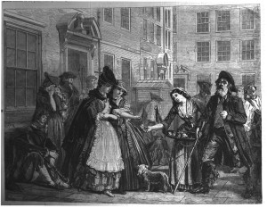 'Brick Court, Middle Temple, April 1774', or 'Goldsmith's Mourners' by Eyre Crowe (1863). Engraving published on the front page of the Illustrated London News, 18 July 1863