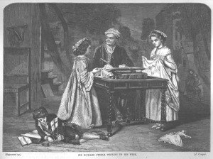 Engraving of 'Sir Richard Steele writing to his wife', by Eyre Crowe (1860). Engraving by J. Cooper, published in the Art Journal, June 1864
