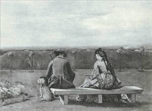 'The Bench by the Sea' ['Tiff'] by Eyre Crowe (1872)