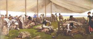 'A Sheep-Shearing Match' by Eyre Crowe (1875)