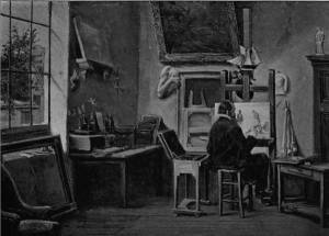 'J F Millet in his Studio at Barbizon' by Eyre Crowe A.R.A. (1899)