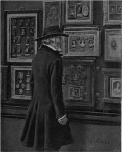 'Thomas Carlyle Looking at the Duke of Buccleuch's Miniatures of Cromwell, his Wife and Daughter' by Eyre Crowe A.R.A. (1895)