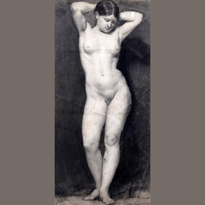 Life drawing of a standing female nude, by Eyre Crowe (1846)