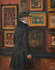 'Thomas Carlyle looking at the Duke of Buccleuch's miniatures of Cromwell' (1895) by Eyre Crowe ARA
